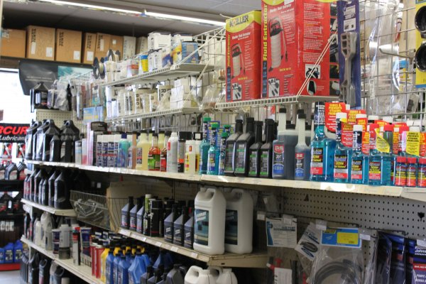 Aisle at the store with goods on the shelf