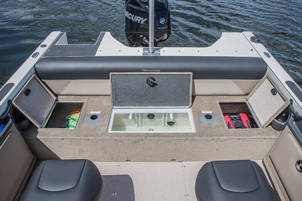 Back of boat with open storage areas