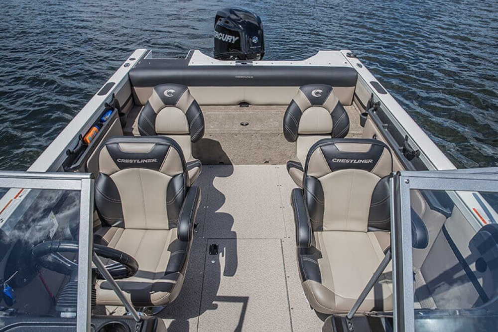 Four interior seats of small boat